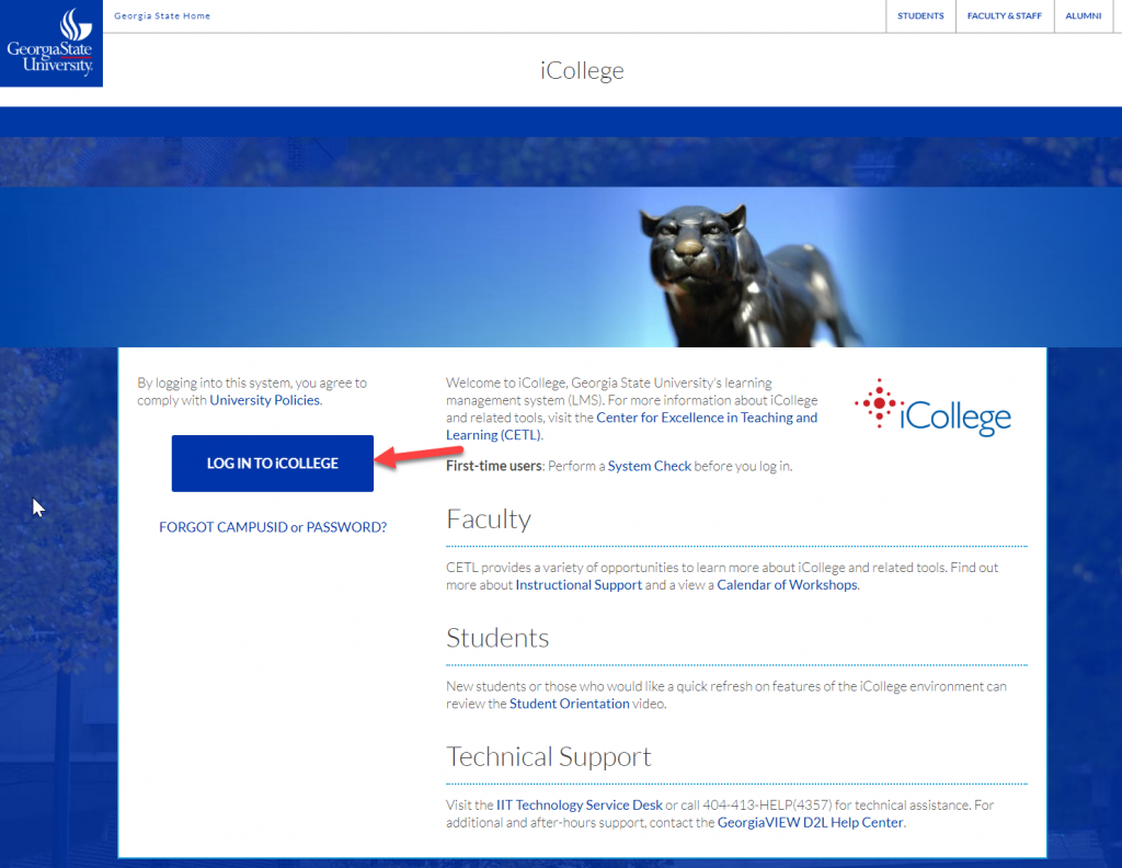 Click CampusID Login button to access iCollege.