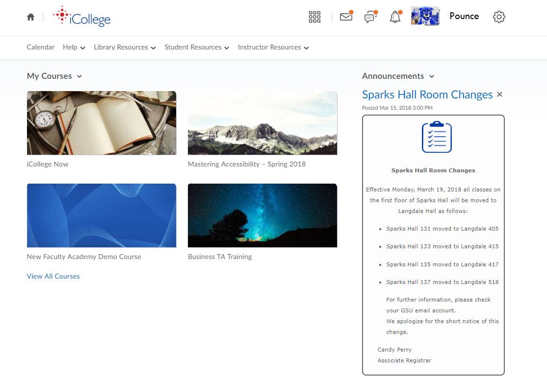 iCollege homepage