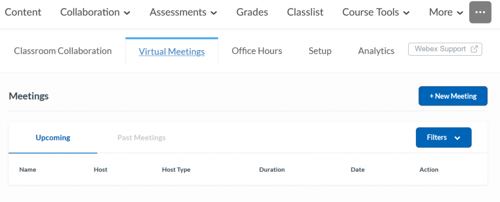This screenshot shows the Webex interface in iCollege.