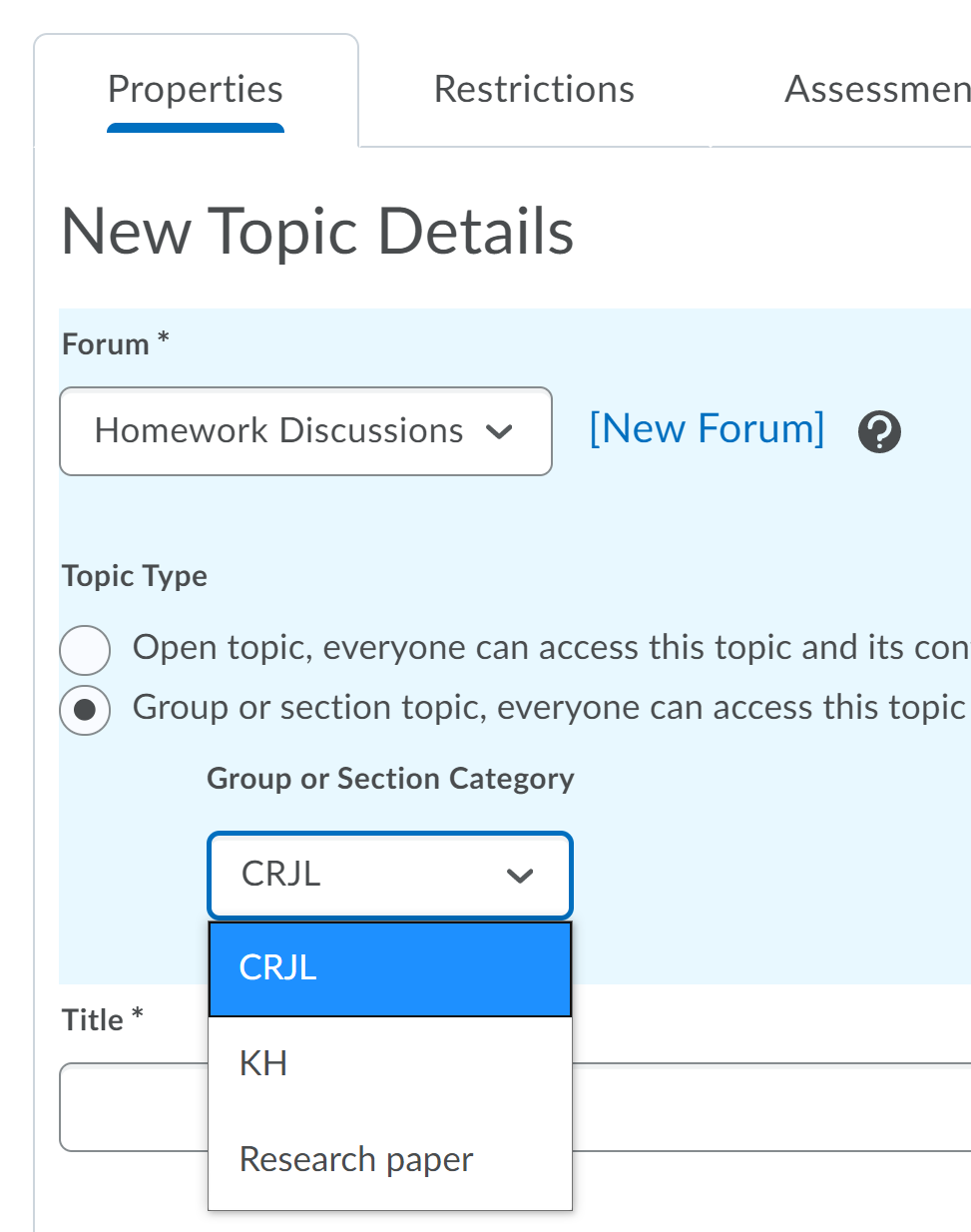 choosing groups from the discussion tool