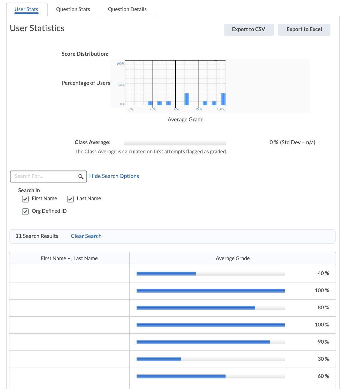 User Statistics for Quizzes & Survey Tools